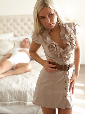 Luscious blonde Dido Angel inspects herself in the mirror as she tries on dresses that show off her tanned toned body to tits full potential while Tommy watches from the bed. When Tommy sees one that he likes, he shows his approval by beckoning Dido over