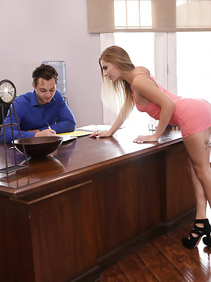 Sydney Cole is visiting with her boyfriend Brad Sterling. When he won't pay her the attention she thinks she deserves, Sydney struts to the other side of his desk and makes sure that he knows exactly what she wants. Soon Brad is sucking Sydney's titties a