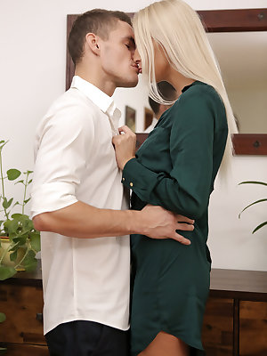 Max Dior and Karol Lilien can't control their lusty urges long enough to get inside! With lips locked as they fumble for the door, it's a foregone conclusion that they're both in for a good afternoon. Before they ever reach the couch, Karol's dress has be