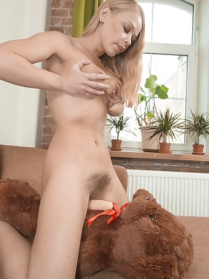 Darina Nikitina has her favorite bear and she loves getting naughty with it. She strips off her blue dress and pink panties, and puts a dong on him. She then masturbates and fucks it good.