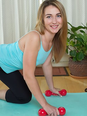 Melisa is a sexy Russian all-natural blonde, and is sexy while exercising. She strips naked when all done and show off her hairy pussy and is hot. She has sexy long legs and her hairy cunt is nice.