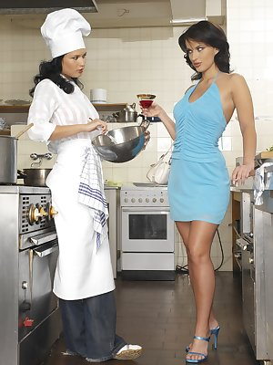 2 horny little chefs get into each other in the kitchen