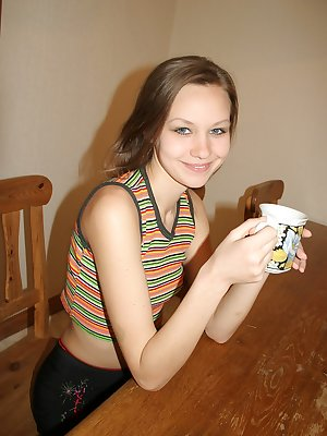 Cute teen Monika photgraphs her own sweet body