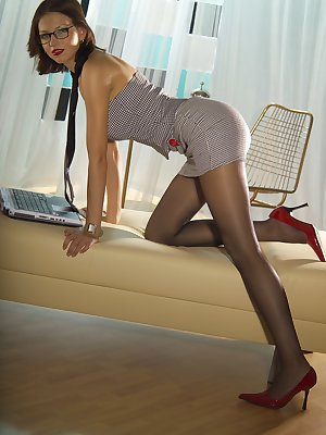This girl is being a naughty secretary at work