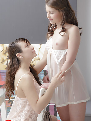 Sharing is caring, and these brunette teen angels know that and share the cock with each other in the threesome show.