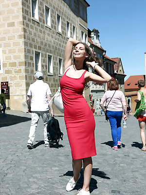 Galina A strips her sexy red dress as she flaunts her sexy physique.