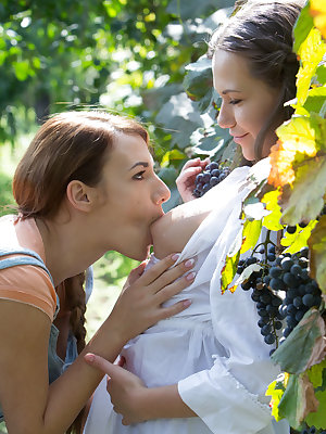 Hanna Sweet and Subil Arch enjoys each other juicy pussy in the vineyard