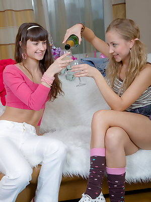 Zina is the best Alice's girlfriend. She invited Alice to her birthday party with a lot of champagne and presents. After opening all the presents these slightly drunk cuties decided to have fun! Look at these beautiful teen bodies getting stripped naked..