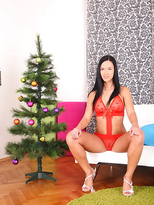 Here is our another Christmas present for our dear members. Hedvika is here in her amazing red lingerie and her hot pussy is ready for action. The dirty Santa won't miss his chance to get the party started as soon as it's possible, and right after some pu