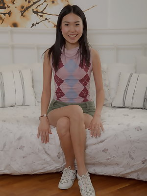 This sweet Asian beaut is so flexible and enthusiastic that it's a true pleasure to watch how she is offering her pussy to get it stuffed with the huge cock! Mey is a pretty teenage girl who never minds to get a fuck and who willingly does everything poss
