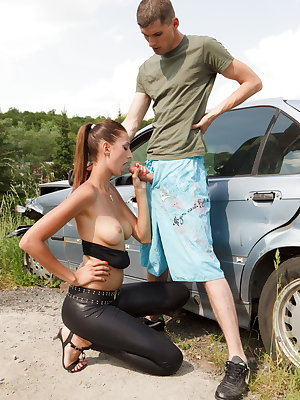 Katie wants to have her pussy fucked right in this  junk yard and Tony is going to enjoy it more than any other request  from his sexy mate.