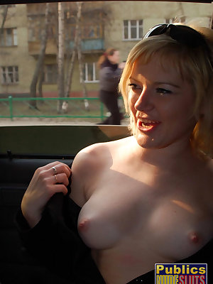 Nadja flashes and toys in car