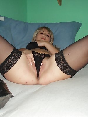 Nice blonde masturbates with dildo
